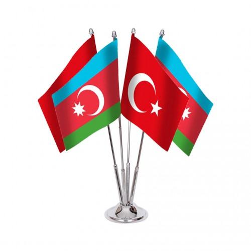 Dörtlü Azerbaycan Masa Bayrağı Takımı