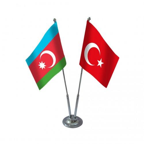 İkili Azerbaycan Masa Bayrağı Takımı
