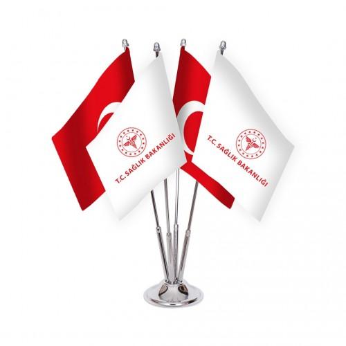 Dörtlü T.C Sağlık Bakanlığı Masa Bayrağı Takımı