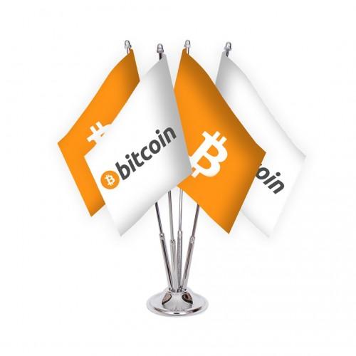 Dörtlü Bitcoin Masa Bayrağı Takımı
