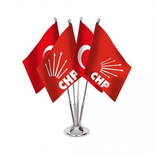 Dörtlü Chp Masa Bayrağı Takımı