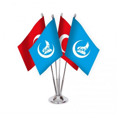 Dörtlü Mavi Bozkurt Masa Bayrağı Takımı