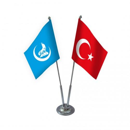 İkili Mavi Bozkurt Masa Bayrağı Takımı