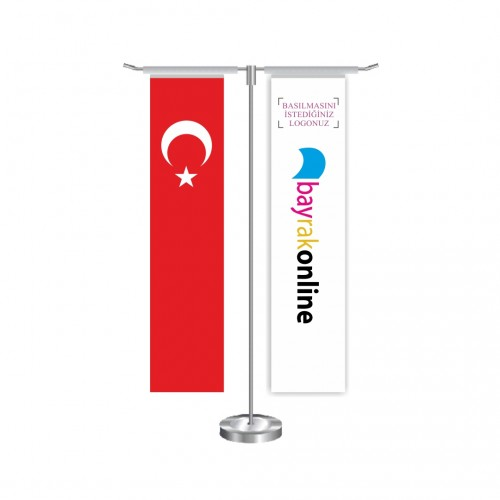 T Dikdörtgen Masa Bayrağı Direkli Takım
