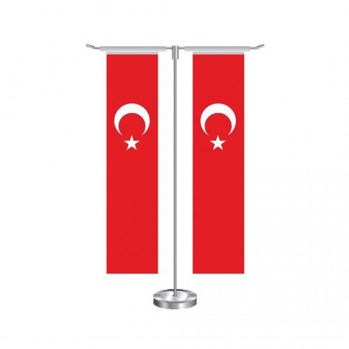 T Dikdörtgen Türk Masa Bayrağı Takımı