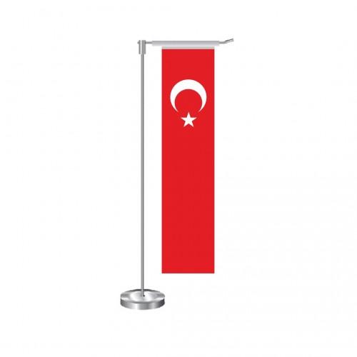 L Dikdörtgen Türk Masa Bayrağı Direkli Takım