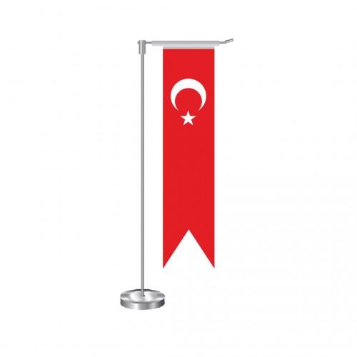 L Kırlangıç Türk Masa Bayrağı Direkli Takım