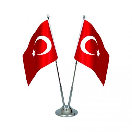 Türk Masa Bayrağı İkili Direkli Takım
