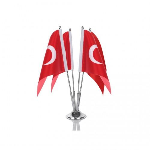 Türk Masa Bayrağı Dörtlü Direkli Takım