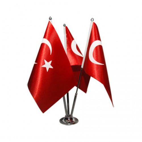 Türk Masa Bayrağı Üçlü Direkli Takım